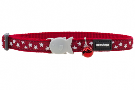 Red Dingo White Star on Red Cat Collar
